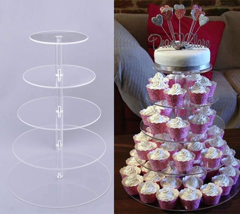 Miageek Clear Round Cake Cupcake Tree Tower Tea Wedding Party Acrylic Cupcake Tower Tall Jumbo-Round Dessert Stands-Cupcake Display Stand (5 Tier Round)