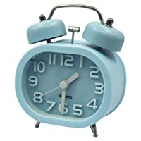 "Coolzon® Retro Analog Alarm Clock 3"" Twin Bell Quartz Alarm Clocks Non Ticking Silent Sweep Bedside Clock Loud Alarm Battery Operated with Nightlight"