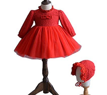 e743cb67071 Amazon.com  H.X Baby Girls Red Lace Long Sleeve Holiday Christmas Dresses  with Lace Bonnet  Clothing