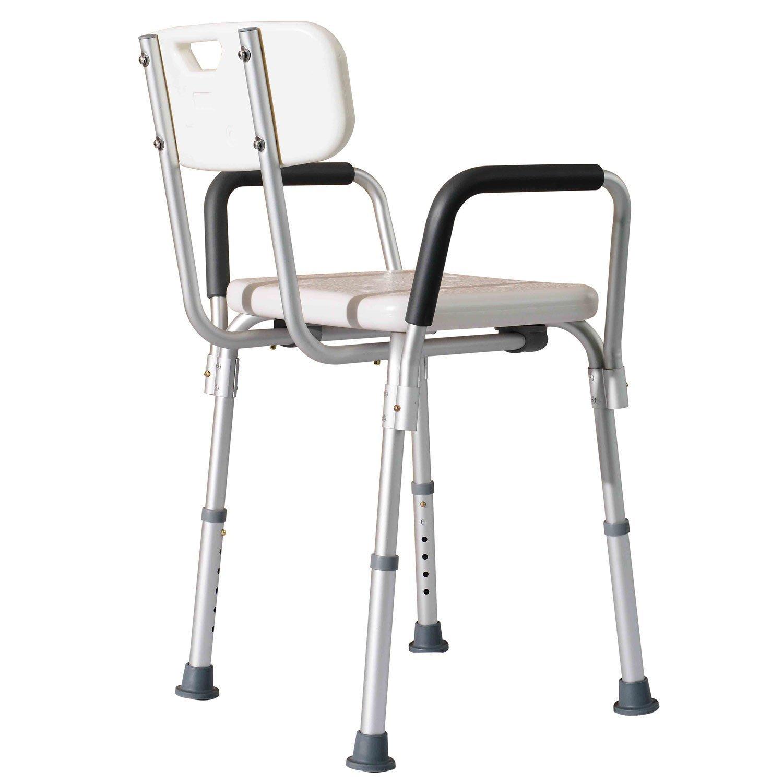 Hom Sedile da doccia con schienale e braccioli Sedile da vasca sedia regolabile in altezza Amazon Casa e cucina