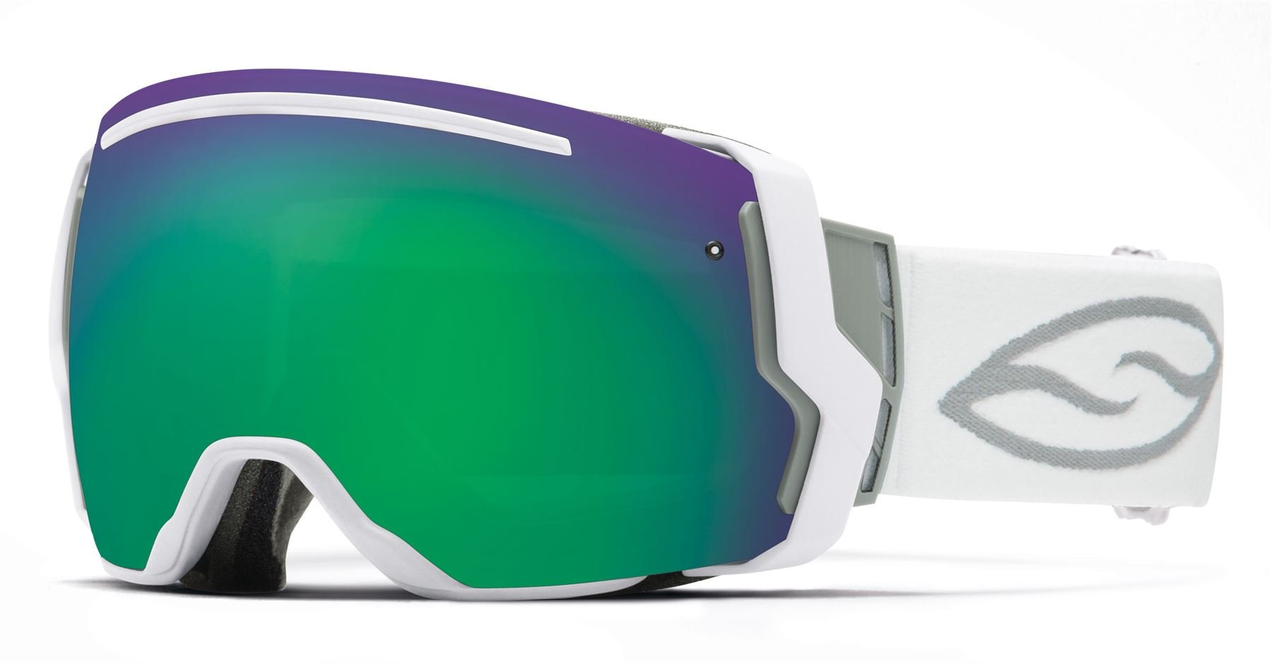 Smith Optics I/O7 Vaporator Series Snocross Snowmobile Goggles Eyewear - White/Green Sol-X/Red Sensor / Medium by Smith Optics
