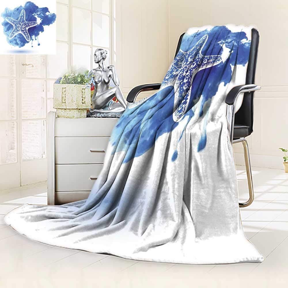 YOYI-HOME Original Luxury Duplex Printed Blanket, Nautical Starfish Figure On A Watercolor Paintbrush WatercolorSplash Marine Design Blue for Hotel Extra Soft, Plush, Fluffy, Warm/39.5'' W by 59'' H