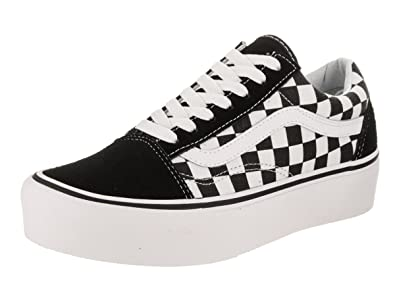 9879a353 Vans Mens Checkerboard Old Skool Platform Black/True White Sneaker - 4.5