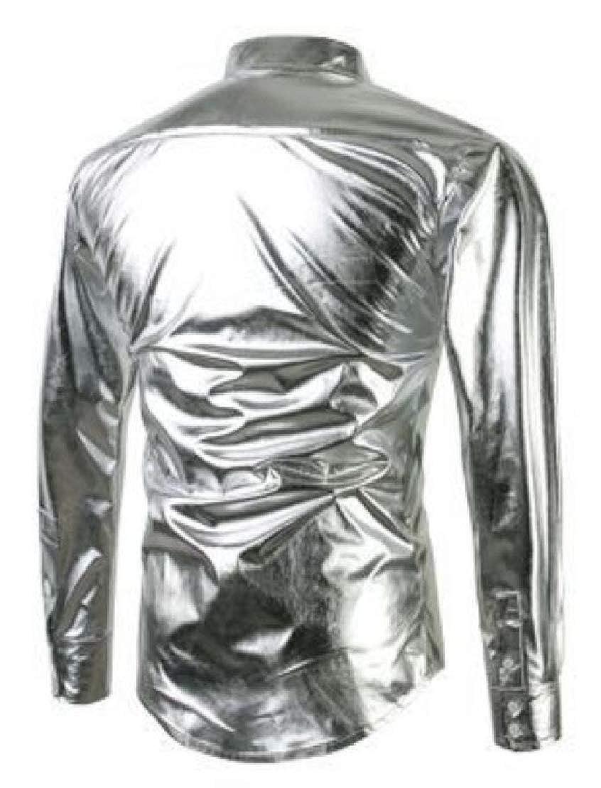 GenericMen Comfort Metallic Long Sleeve Slim Fit Club Button Down Shirts