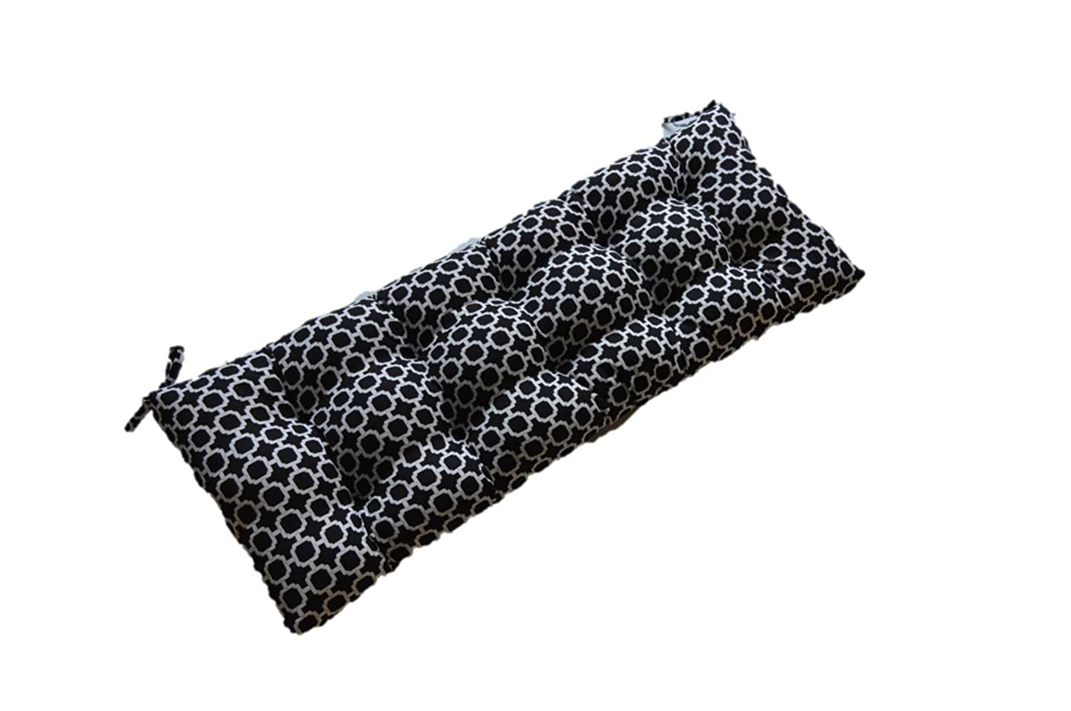 Black and White Geometric Hockley Print Indoor Outdoor Tufted Cushion for Bench, Swing, Glider – Choose Size 60 x 18