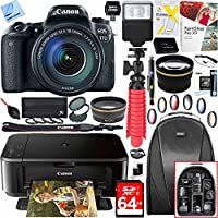 Canon EOS 77D 24.2 MP Digital SLR Camera with EF-S 18-135mm IS USM Lens and Canon Pixma MG3620 Wireless Inkjet All-In-One Multifunction Photo Printer 64GB Accessory Bundle
