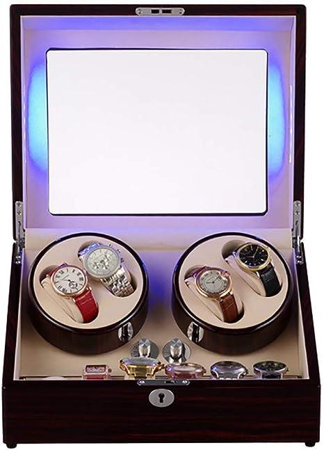 KYCD Caja de Madera con Movimiento automático de Reloj, Caja de Madera giratoria con Caja de Almacenamiento para Relojes con luz LED y Motor silencioso: Amazon.es: Hogar