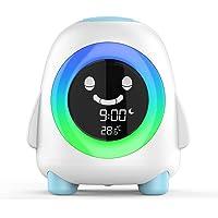 Amouhom Barn väckarklocka barns sömntränare med LED nattlampa nattduksbord tecknad digital klocka med färger som ändras…