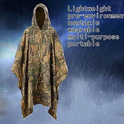 Glyby Multifunction Military Emergency Rain Poncho,Lightweight Waterproof & Packable Rainwear for Men,Women,Boys & Girls,Long Travel Camouflage Slicker for Adults,Unisex Raincoat to be a Tent