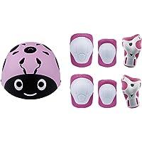 Lucky-M - Juego de 7 Almohadillas Protectoras para Deportes al Aire Libre para niños y niñas (Rodilleras, Coderas y muñequeras), Pink ladyug
