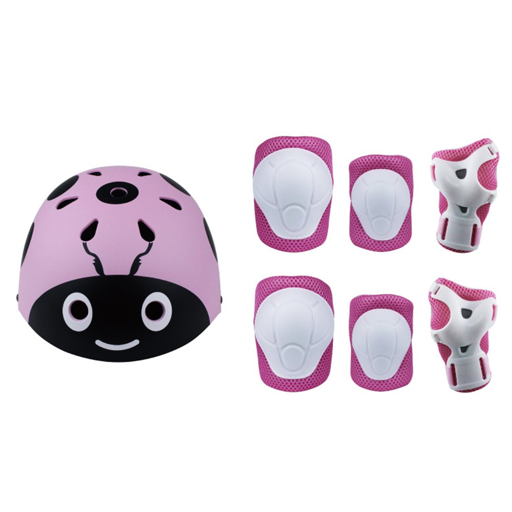 Lucky-M Kids 7 Pieces Outdoor Sports Protective Gear Set Boys and Girls Cycling Helmet Safety Pads Set [Knee&Elbow Pads and Wrist Guards] for Roller Scooter Skateboard Bicycle(3-8Years Old(Pink)
