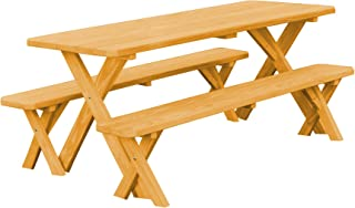 product image for Pressure Treated Pine 8 Foot Cross Leg Picnic Table with Detached Benches- Natural Stain
