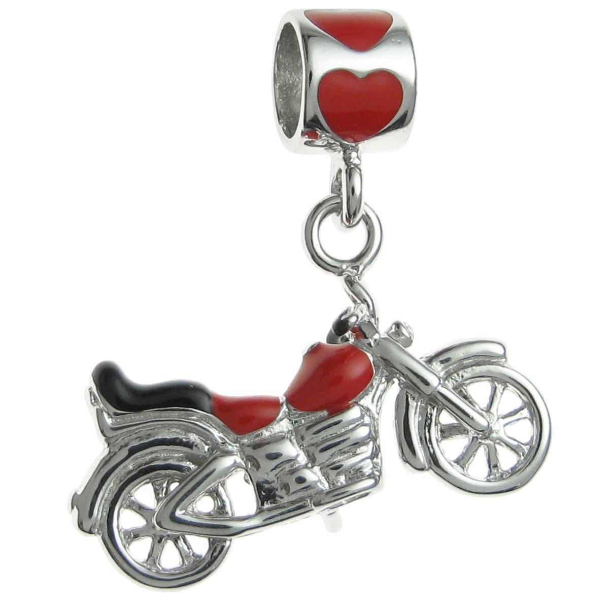 Queenberry Sterling Silver Motorbike Enamel European Style Dangle Bead Charm PA2276X1