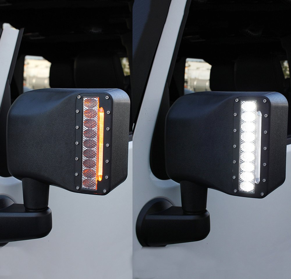 Xprite White LED Light Clear Lens Sidelight Rearview Side Mirror Housing W/Yellow Turn Signal Lights For Jeep Wrangler JK JKU 2007-2018