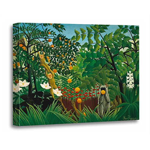TORASS Canvas Wall Art Print Jungle Henri Rousseau Exotic Paintings Monkeys Artwork for Home Decor 16