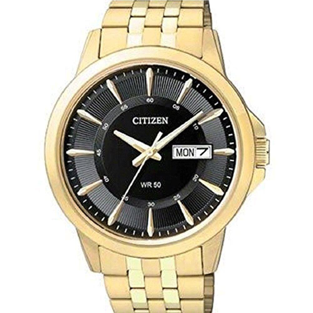 Citizen BF2013-56E Quartz Mens Day/Date Watch - Gold-Tone Case - Black Dial by Citizen