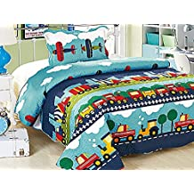 Homemusthaves Twin MultiColor Blue Yellow Red White Airplane Truck Train 2PCS Quilt Bedspread Set Kids Boys Girls Bed Coverlet and Sham
