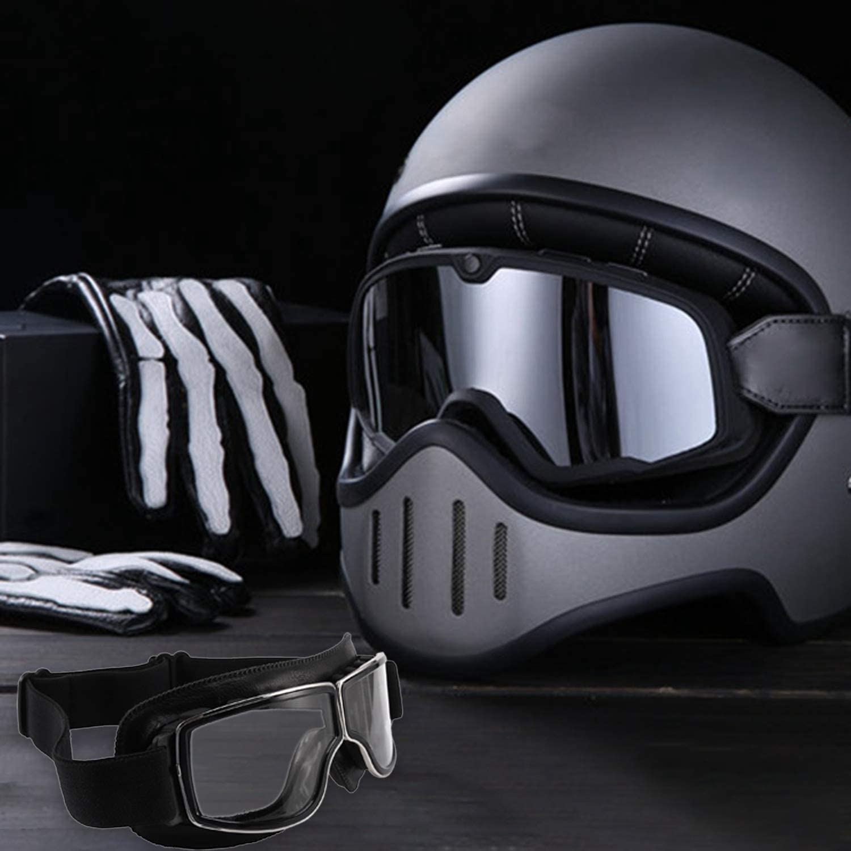 Monland Gafas Retro de Motocicleta Gafas Piloto Cruiser Gafas de Motocicleta Cuero Vintage para Gafas Clean