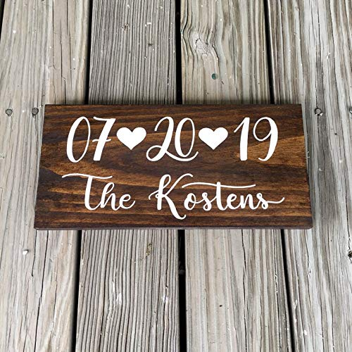 Tiukiu Save The Date Sign Personalized Last Name Rustic Wood Sign Wooden Plaque Wall Decor]()