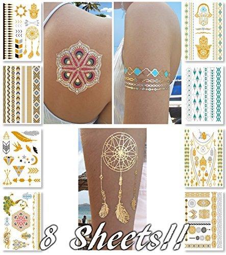 Metallic Temporary Transfer Tattoos for Women Teens Girls - 8 Sheets Gold...