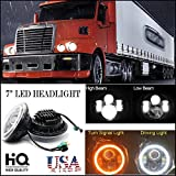 07 freightliner century part - 7 Inch For Freightliner Century Class LED Round Headlight Halo Ring Angel Eyes Hi/Low Double Beam DRL Amber Turning Signal Lights Replacement 6000K 6012 6014 6015 H6024 H6017 60W 2Pcs
