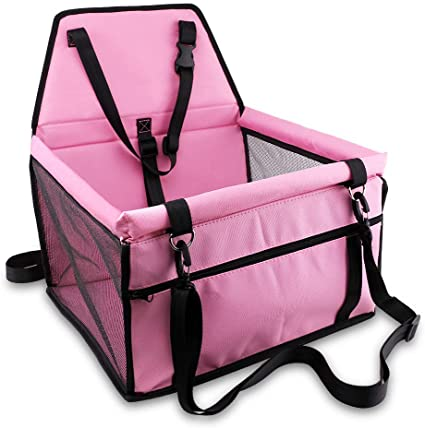 Ideas In Life Portable Car Pet Booster Seat with Clip-On Safety Leash and Zipper Storage Pocket