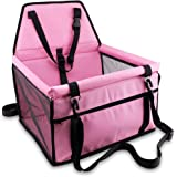 Petbobi Upgrade Pet Car Booster Seat for Dog Cat Portable and Breathable Bag with Seat Belt Dog Carrier Safety Stable for Travel Look Out,with Clip on Leash and Storage Pockage