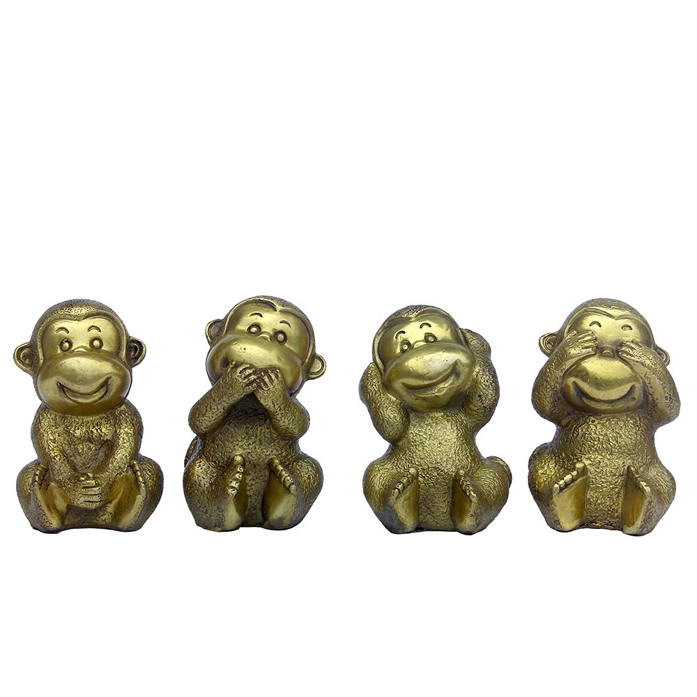 Fengshui Brass Monkey Set Figurine- ''no seeing, no hearing, no spesking, no moving'' Home Decor Statue Collectible Figurines