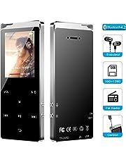 MP3 Bluetooth 4.2, Macrourt Lecteur MP3 16Go en Métal avec Boutons Tactiles Haut-Parleur Intégré Baladeur Supporte Radio FM Enregistrement Carte 128Go(Non Inclus)