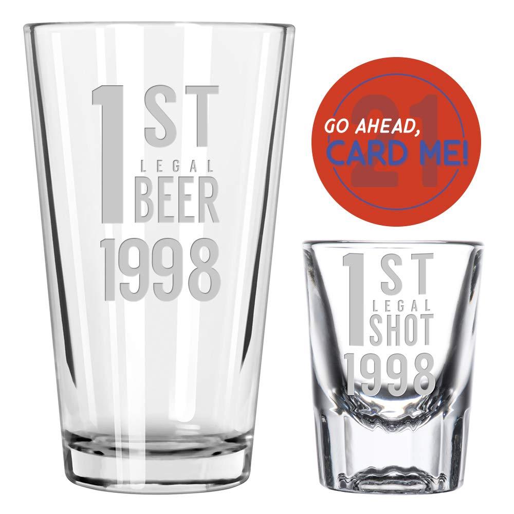 1st Legal 21st Birthday Pint and Shot Glass Boilermaker Set - I'm 21 Birthday Gift (1998)
