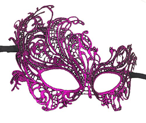 Coolwife Women's Venetian Crochet Ball Lace Masquerade Mask Halloween Fashion (Swan Purple) -