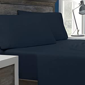 Columbia Tencel + Cotton Performance Sheet Set – Omni-Wick Moisture Wicking Stay Dry Technology – Naturally Soft, Cool, Breathable Temperature Regulating - Full 4-Piece Sheet Set, Nocturnal