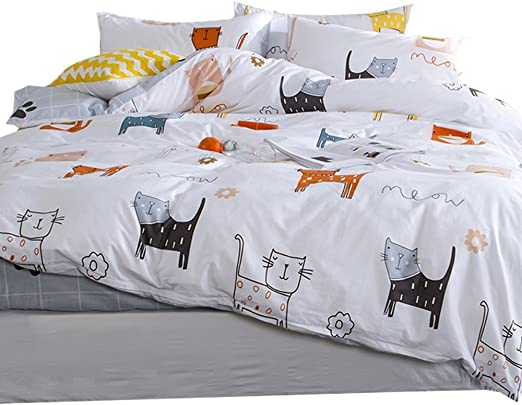 Amazon Com Otob Cartoon Cats Print Twin Duvet Cover Sets For Kids White Grey 100 Cotton Reversible Comfortable 3 Pieces Girls Boys Cat Kawaii Twin Bedding Sets With 2 Pillowcases Child Bedding Sets