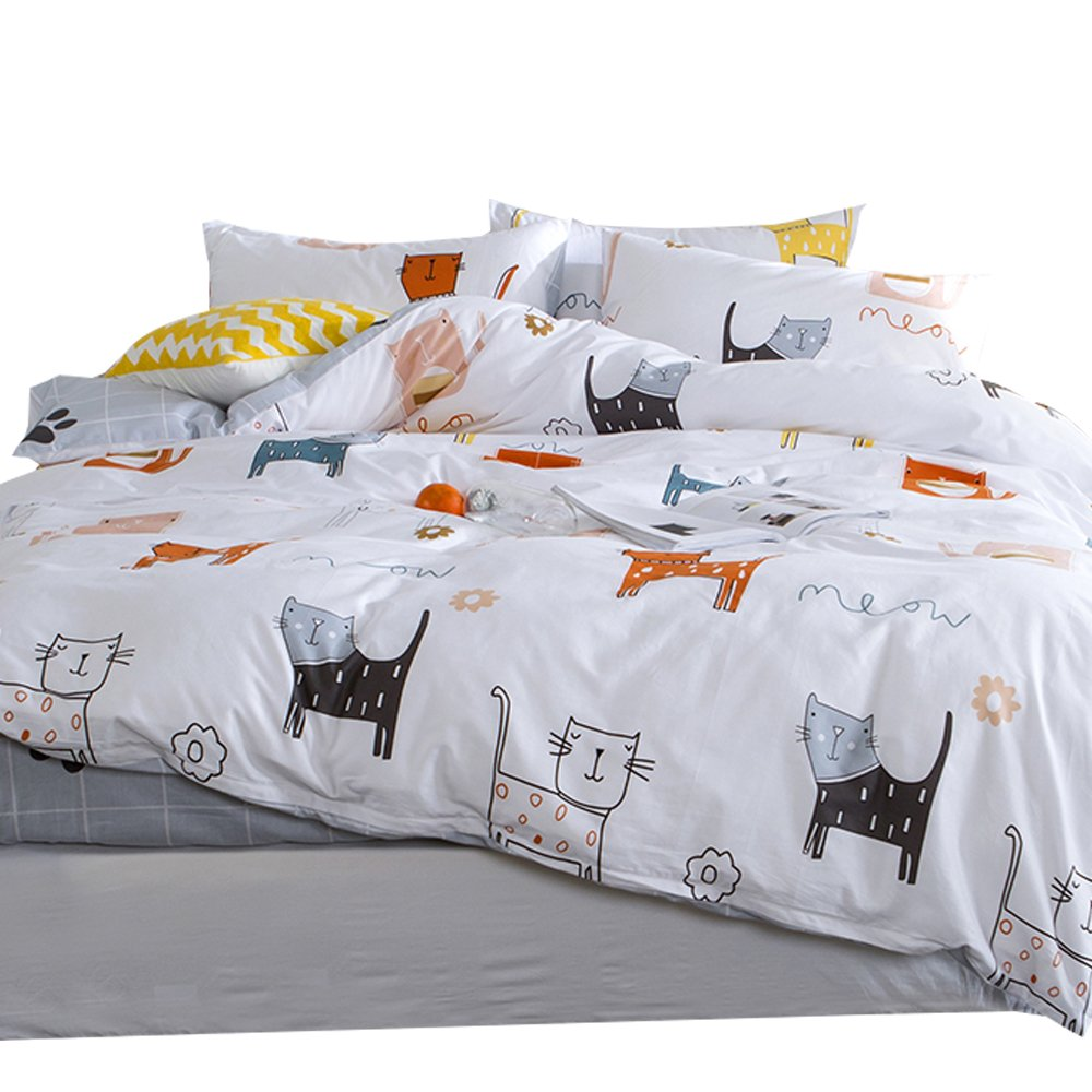 OTOB Cartoon Cat Full Queen Duvet Cover Sets for Kids White Grey 100% Cotton Reversible 3 Pieces Kids Girls Boys Bedding Sets Duvet Cover with Pillowcases Child Bedding Sets, No Quilt