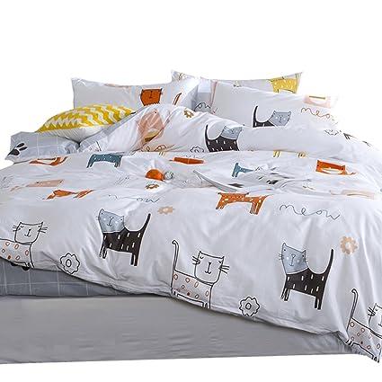 OTOB Cartoon Cat Full Queen Duvet Cover Sets For Kids White Grey 100%  Cotton Reversible