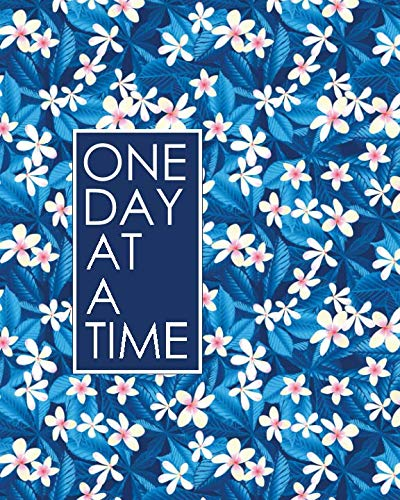 One Day at a Time - 18 Month Planner: Blue Tropical Floral Recovery Oriented Daily Weekly and Monthly Views with Notes and Dot Grid Journal Pages (18 Month Recovery Oriented Planner)