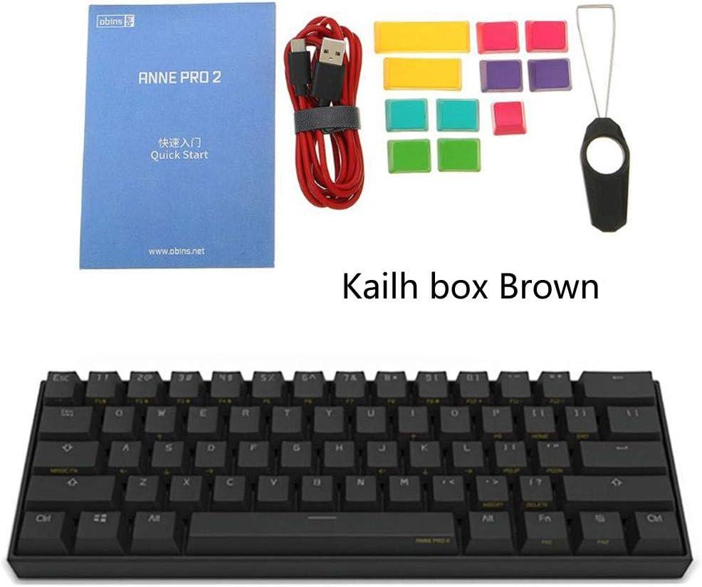 Bluetooth 4.0 Negro, Kailh Box Red Obinslab Anne Pro 2 Teclado mec/ánico para Juegos 60/% ANSI RGB