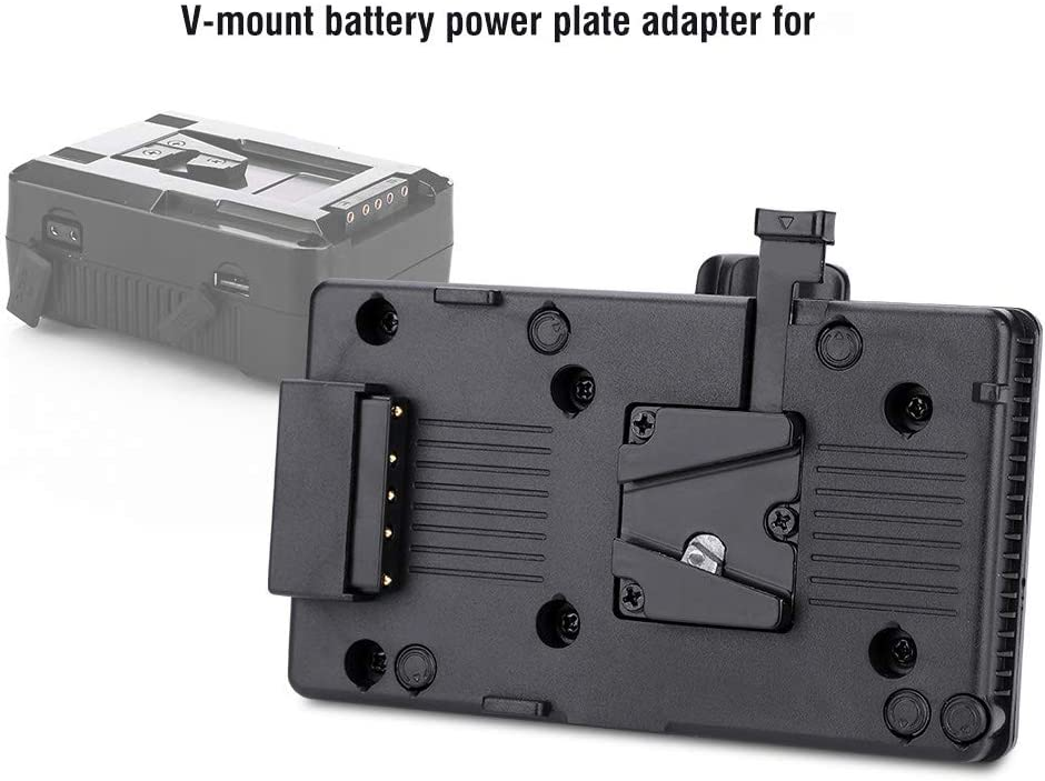 Battery Plate Battery Adapter Battery Power Supply Plate Battery Adapter with V-Mount Input and D-Tap Connector for DSLR Camcorder