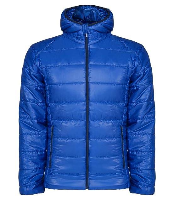 Chaqueta acolchada con relleno y capucha ajustada (XL, Azul electrico)