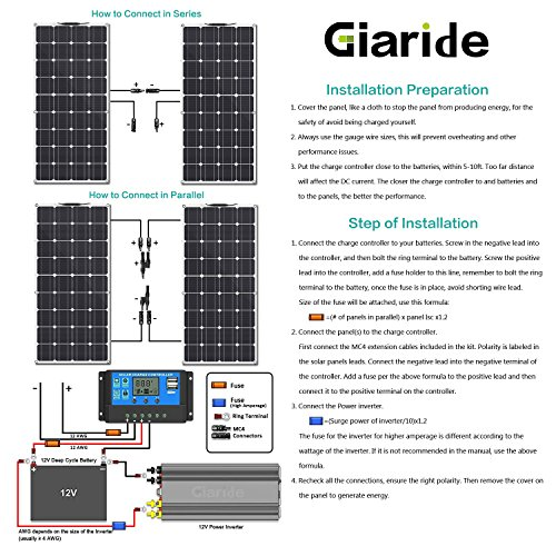 GIARIDE Solar Panel, 18V 12V 100W High-efficiency Monocrystalline Cell with MC4 Connectors Flexible Bendable Off-grid Solar Panel Charger for 12 Volt Battery, RV, Boat, Car, Motorhome, Camping by GIARIDE (Image #3)