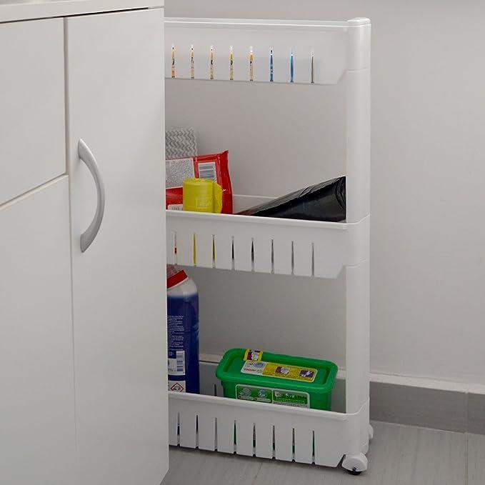 Eyepower Estantería Móvil Estante de Cocina baño con Ruedas plástico Blanco: Amazon.es: Hogar