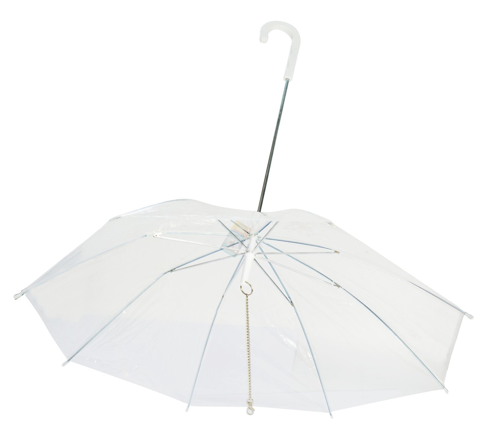 Perfect Life Ideas Pet Dog Umbrella with Leash - Easy View Clear Transparent Folding Puppy Umbrella for Small Dogs Puppies 20 Inches Back Length - Provides Protection from Rain Snow Wet Weather by Perfect Life Ideas