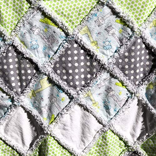 baby rag quilt baby boy flannel quilt laughing giraffes quilt green blue grey white baby boy blanket