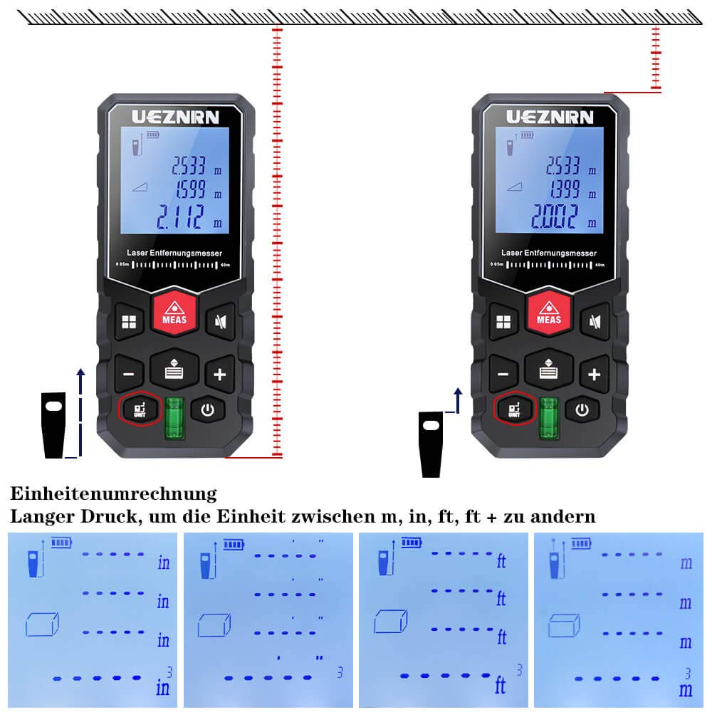0,05~40m Lasermessger/ät Genauigkeit IP54 Staub//Spritzwasserschutz Entfernungsmessger/ät mit LCD Hintergrundbeleuchtung Ueznirn Laser Entfernungsmesser Distanzmessger/ät Messbereich /±2 mm