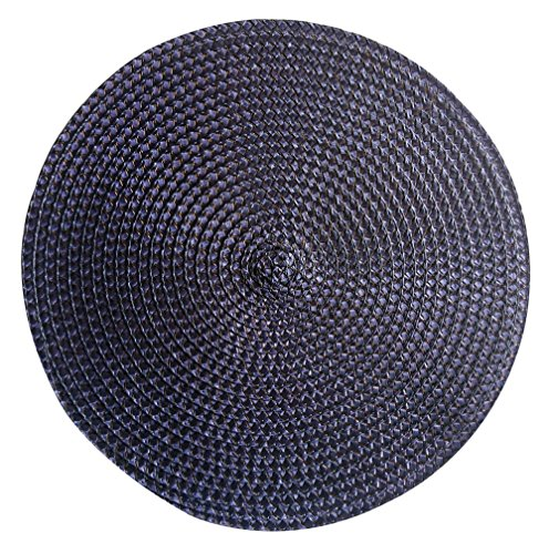 Set of 12 pieces Polyproplene Braid Woven Round Placemats/Place Mats 15 Inches (Navy Blue)