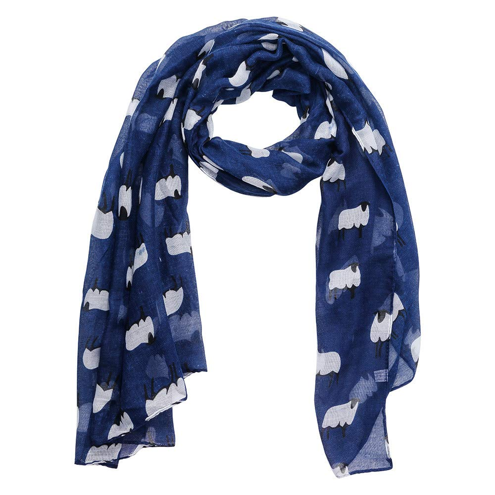 Jonecal Women Fashion Neckerchief Scarf Sheep Print Farm Animal Wild Collar Shawl (Navy)