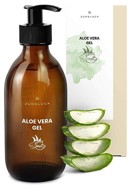 Junglück veganes Aloe Vera Gel in Braunglas - 90,1% Bio Aloe Vera Saft - Feuchtigkeitspflege für gesunde & schöne Haut - natü