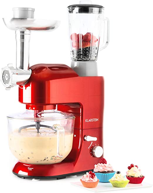 Klarstein Lucia Rossa 2G - Robot de cocina universal - Batidora, 1000 W, 5,2 Litros, Amasadora planetaria, Picadora de carne, Rodillo para pasta, Licuadora 1,5 Versión 2017 Rojo claro: Amazon.es: Hogar