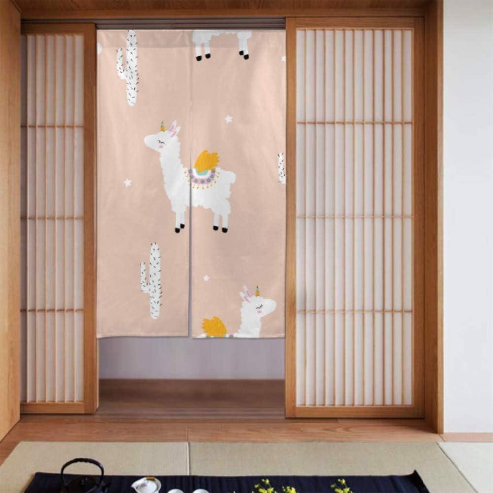 Generies Cortina de ducha para cocina, diseño de Lama Alpaca y Adolescente, para puerta de casa, cocina, decoración de puertas de 86 x 143 cm: Amazon.es: Hogar