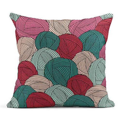 Merino Mohair Lace - Semtomn Decor Flax Throw Pillow Covers Case Teal Crochet Yarn Balls Pattern Blue Skein Hook Hank 20